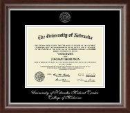 University of Nebraska Medical Center Diploma Frame - Silver Embossed Diploma Frame in Devonshire
