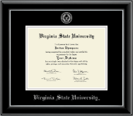 Virginia State University Diploma Frame - Silver Embossed Diploma Frame in Onyx Silver