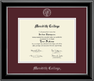 Meredith College Diploma Frame - Silver Embossed Diploma Frame in Onyx Silver