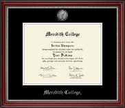 Meredith College Diploma Frame - Silver Engraved Diploma Frame in Kensington Silver