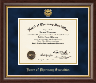 Board of Pharmacy Specialties Certificate Frame - Gold Engraved Medallion Certificate Frame in Hampshire