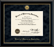 Board of Pharmacy Specialties Certificate Frame - Gold Engraved Medallion Certificate Frame in Onyx Gold