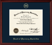 Board of Pharmacy Specialties Certificate Frame - Gold Embossed Certificate Frame in Camby