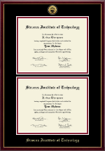 Stevens Institute of Technology Diploma Frame - Gold Engraved Double Diploma Frame in Galleria