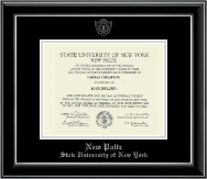 State University of New York  New Paltz Diploma Frame - Silver Embossed Diploma Frame in Onyx Silver