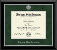 Michigan State University Diploma Frame - Silver Engraved Medallion Diploma Frame in Onyx Silver