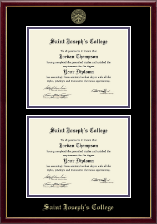 Saint Joseph's College in Indiana Diploma Frame - Gold Embossed Double Diploma Frame in Galleria