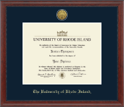 The University of Rhode Island Diploma Frame - Gold Engraved Medallion Diploma Frame in Signature