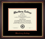 Wartburg College Diploma Frame - Orange Embossed Diploma Frame in Regency Gold