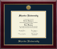 Shorter University Diploma Frame - Gold Engraved Medallion Diploma Frame in Gallery