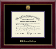 Williams College Diploma Frame - Gold Engraved Medallion Diploma Frame in Gallery