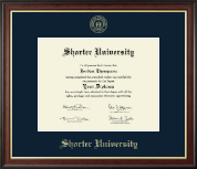 Shorter University Diploma Frame - Gold Embossed Diploma Frame in Studio Gold