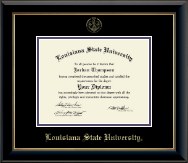 Louisiana State University Diploma Frame - Gold Embossed Diploma Frame in Onyx Gold