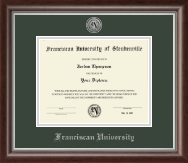 Franciscan University of Steubenville Diploma Frame - Silver Engraved Medallion Diploma Frame in Devonshire