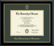 The University of Vermont Diploma Frame - Gold Embossed Diploma Frame in Onyx Gold