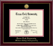 Texas Tech University Diploma Frame - Gold Engraved Medallion Diploma Frame in Gallery