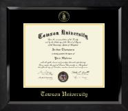 Towson University Diploma Frame - Yellow Embossed Diploma Frame in Eclipse