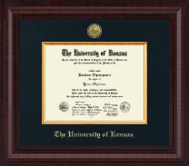 The University of Kansas Diploma Frame - Presidential Gold Engraved Diploma Frame in Premier