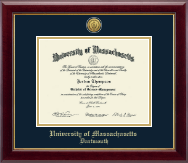 University of Massachusetts Dartmouth Diploma Frame - Gold Engraved Medallion Diploma Frame in Gallery