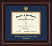 University of Massachusetts Dartmouth Diploma Frame - Presidential Gold Engraved Diploma Frame in Premier