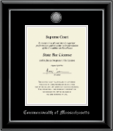 Commonwealth of Massachusetts Certificate Frame - Silver Engraved Medallion Certificate Frame in Onyx Silver