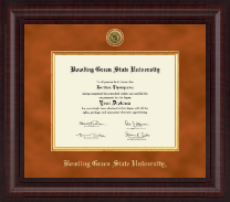 Bowling Green State University Diploma Frame - Presidential Gold Engraved Diploma Frame in Premier