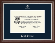 Kent School in Connecticut Diploma Frame - Silver Embossed Diploma Frame in Devonshire