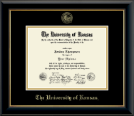 The University of Kansas Diploma Frame - Gold Embossed Diploma Frame in Onyx Gold