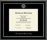 Northwood University in Michigan Diploma Frame - Silver Embossed Diploma Frame in Onyx Silver