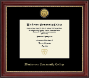 Waubonsee Community College Diploma Frame - Gold Engraved Medallion Diploma Frame in Kensington Gold