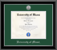 University of Miami Diploma Frame - Silver Engraved Medallion Diploma Frame in Onyx Silver