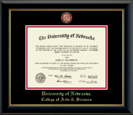 University of Nebraska Diploma Frame - Masterpiece Medallion Diploma Frame in Onyx Gold