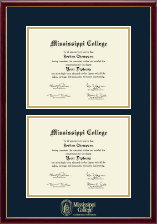 Mississippi College Diploma Frame - Double Diploma Frame in Galleria