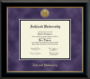 Ashland University Diploma Frame - Gold Engraved Medallion Diploma Frame in Onyx Gold