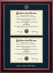 The University of Michigan Diploma Frame - Double Diploma Frame in Gallery