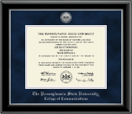 Pennsylvania State University Diploma Frame - Silver Engraved Medallion Diploma Frame in Onyx Silver