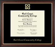 Gulf Coast Community College Diploma Frame - Gold Embossed Diploma Frame in Studio Gold