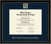 Gulf Coast Community College Diploma Frame - Gold Embossed Diploma Frame in Onexa Gold