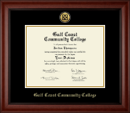 Gulf Coast Community College Diploma Frame - Gold Engraved Medallion Diploma Frame in Cambridge
