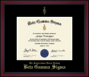 Beta Gamma Sigma Certificate Frame - Gold Embossed Achievement Edition Certificate Frame in Academy