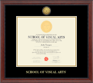 School of Visual Arts Diploma Frame - Gold Engraved Diploma Frame in Signature