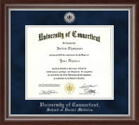 University of Connecticut Diploma Frame - Silver Engraved Diploma Frame in Devonshire