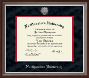 Northeastern University Diploma Frame - Silver Engraved Medallion Diploma Frame in Devonshire