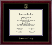 Emerson College Diploma Frame - Gold Embossed Diploma Frame in Gallery