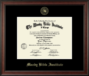 Moody Bible Institute Diploma Frame - Gold Embossed Diploma Frame in Studio