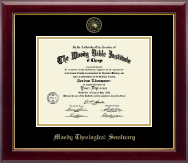 Moody Bible Institute Diploma Frame - Gold Embossed Diploma Frame in Gallery