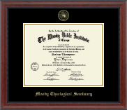 Moody Bible Institute Diploma Frame - Gold Embossed Diploma Frame in Signature