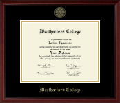 Weatherford College Diploma Frame - Gold Embossed Diploma Frame in Camby
