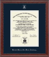 United States Air Force Academy Diploma Frame - Silver Embossed Diploma Frame in Signature