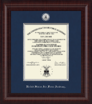 United States Air Force Academy Diploma Frame - Presidential Silver Engraved Diploma Frame in Premier